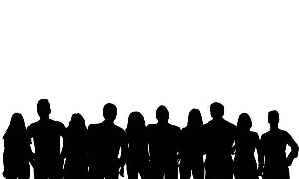 Group of people. Crowd of people silhouettes. Group of people. Crowd of people silhouettes. crowd of people stock illustrations