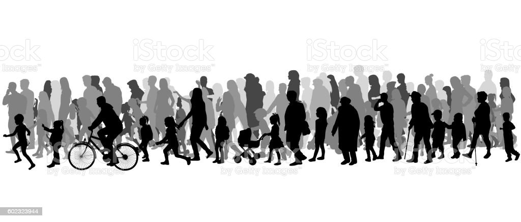 Group of people. Crowd of people silhouettes. vector art illustration