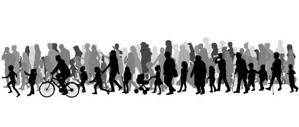 bildbanksillustrationer, clip art samt tecknat material och ikoner med group of people. crowd of people silhouettes. - senior walking