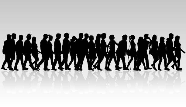 group of people. crowd of people silhouettes. - ходьба stock illustrations
