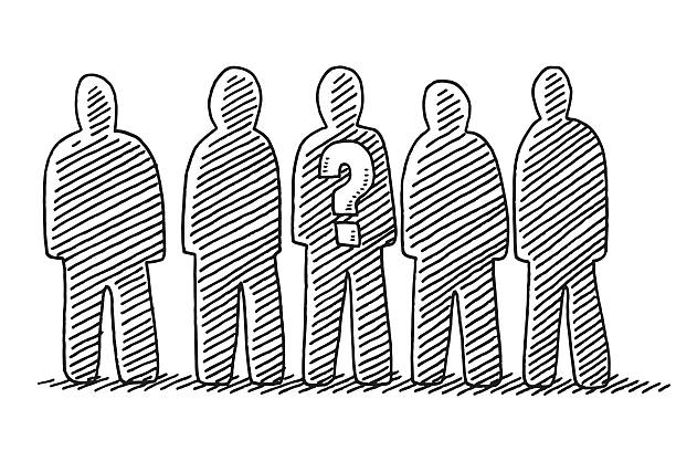 Group Of People Drawing Hand-drawn vector drawing of a Group Of People. Black-and-White sketch on a transparent background (.eps-file). Included files are EPS (v10) and Hi-Res JPG. five people stock illustrations