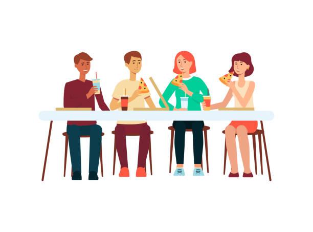 illustrazioni stock, clip art, cartoni animati e icone di tendenza di group of people eating pizza at restaurant flat vector illustration isolated. - dinner couple restaurant
