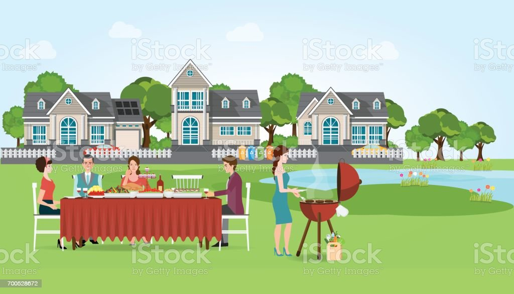 Group of people enjoying party barbecue picnic. vector art illustration