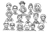 Group Of People Faces Drawing