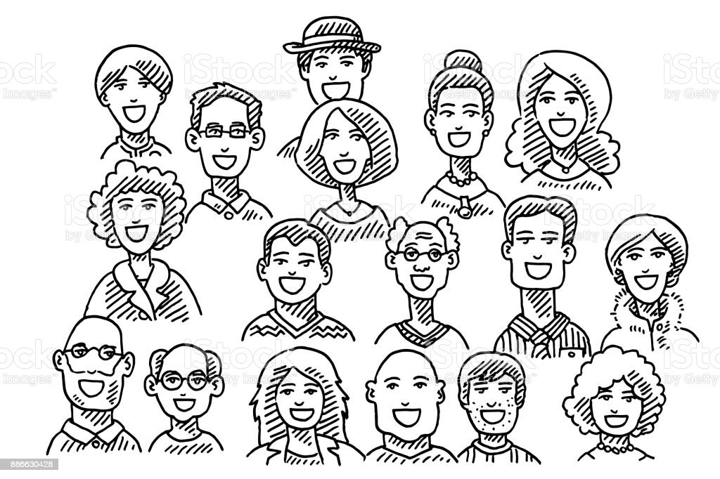 Group Of People Faces Drawing vector art illustration