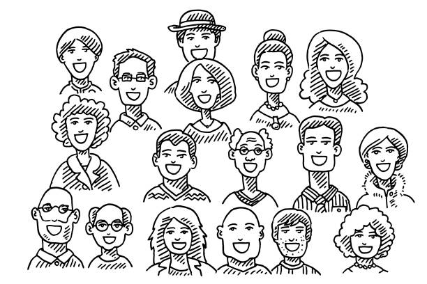 Group Of People Faces Drawing Hand-drawn vector drawing of a Group Of People, Faces. Black-and-White sketch on a transparent background (.eps-file). Included files are EPS (v10) and Hi-Res JPG. women stock illustrations