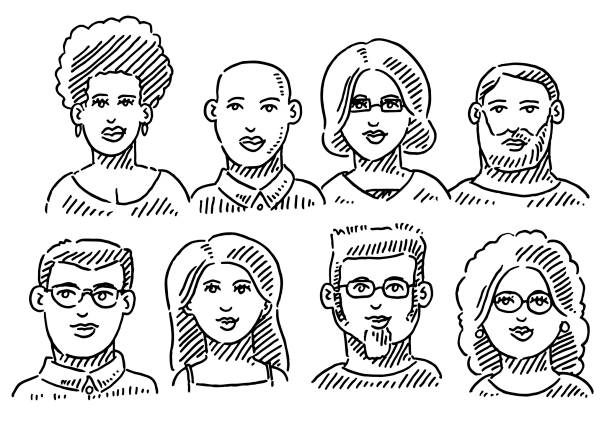 Group Of People Faces Portraits Drawing Hand-drawn vector drawing of a Group Of People Faces Portraits. Black-and-White sketch on a transparent background (.eps-file). Included files are EPS (v10) and Hi-Res JPG. women stock illustrations