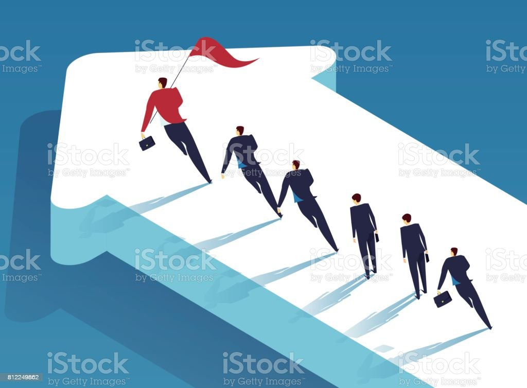 A group of people following the leader on the arrow vector art illustration