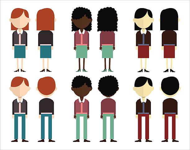 ilustraciones, imágenes clip art, dibujos animados e iconos de stock de grupo de personas de la parte delantera y trasera. - cabello negro