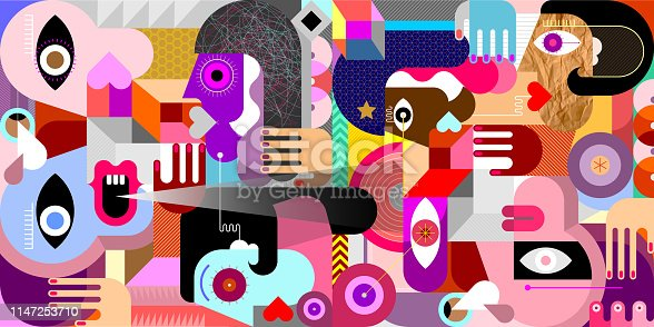 Abstract geometric style Group of People vector illustration.