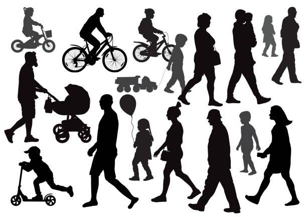 gruppe von menschen gehen (walking) in verschiedene richtungen. menge. silhouetten. seitenansicht. - fußgänger stock-grafiken, -clipart, -cartoons und -symbole