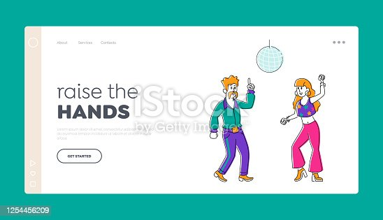 Group of People Happily Dancing Landing Page Template. Characters in Stylized Retro Costumes Dance at Disco Party. Happy Man and Woman Clubbing in Night Club, Vintage Event. Linear Vector Illustration
