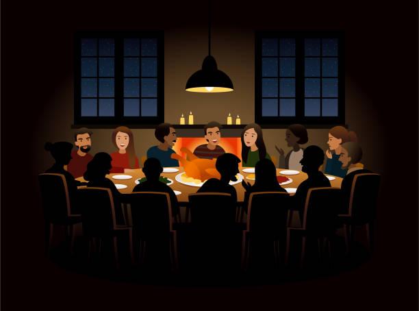 ilustrações de stock, clip art, desenhos animados e ícones de group of people having dinner - christmas table