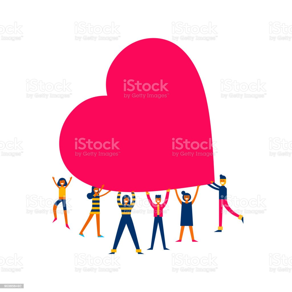 Group of people hold big heart love concept illustration