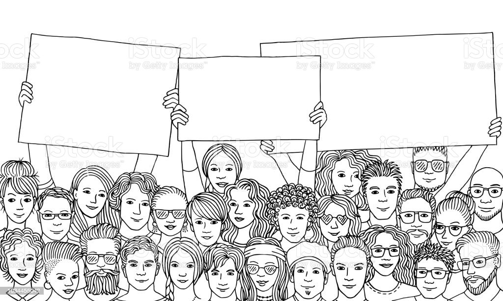 Group of people holding empty signs vector art illustration
