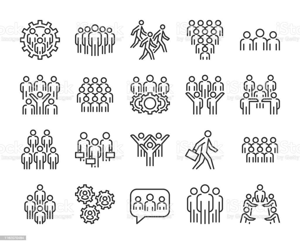 Gruppe von Personen-Symbol. Business People-Liniensymbole festgelegt. Bearbeitbarer Strich. - Lizenzfrei Aktenmappe Vektorgrafik