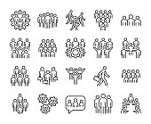 Group of people icon. Business People line icons set. Editable stroke.