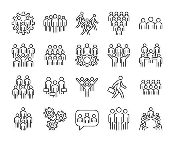 ikona grupy osób. zestaw ikon linii business people. edytowalne obrys. - ruch stock illustrations