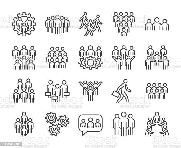 Gruppe Von Personensymbol Business Peopleliniensymbole Festgelegt Bearbeitbarer Strich Stock Vektor Art und mehr Bilder von Aktenmappe