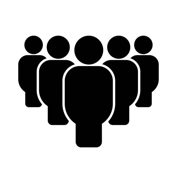 Group of people. Icon Group of people. Icon isolated on white background. Vector illustration five people stock illustrations