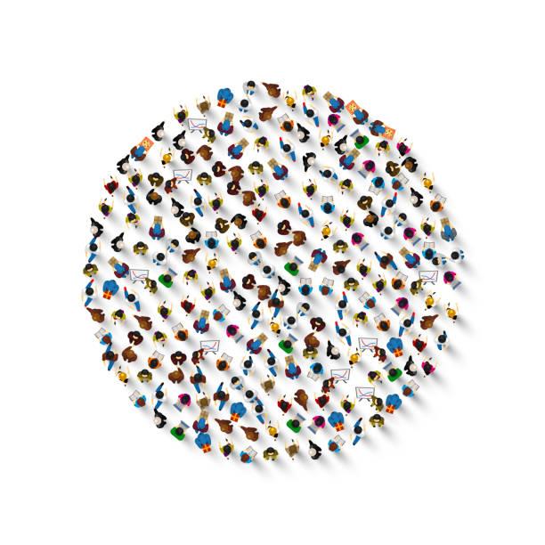 stockillustraties, clipart, cartoons en iconen met een groep mensen in een vorm van cirkel icoon, geïsoleerd op witte achtergrond. vector illustratie - grote groep mensen