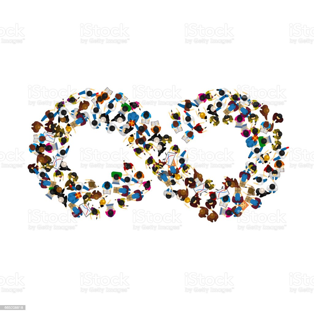 A group of people in a shape of infinity symbol on white background. Vector illustration vector art illustration