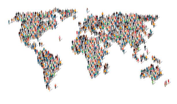 grupa ludzi w formie mapy świata - globalny stock illustrations