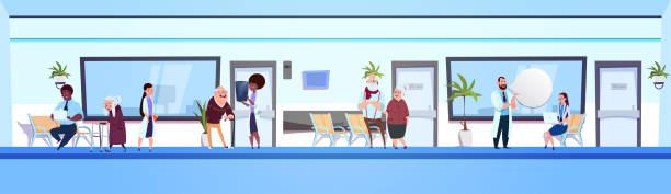 gruppe von menschen im krankenhaus wartezimmer mix race ärzte mit patienten horizontale banner - rezeptionseingang stock-grafiken, -clipart, -cartoons und -symbole