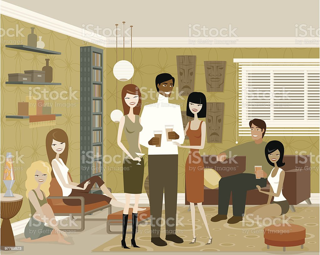 Group of People in Living Room at Party vector art illustration