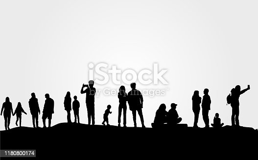 istock Group of people in nature . 1180800174