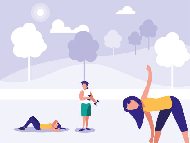 illustrazioni stock, clip art, cartoni animati e icone di tendenza di group of people in park in the city, scene of people outdoor - man city exercise abs