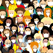 Seamless pattern with a group of people in protective masks.