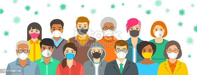 Group of people in protective medical face masks. Spread of coronavirus from person to person prevention. Wearing respirators to prevent covid-19 infection. Coronavirus pandemic. Global quarantine