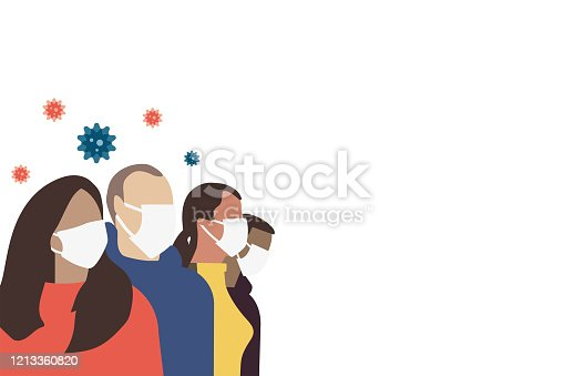 istock A group of people in protective respiratory masks. Cells of a virus flying in the air. 1213360820