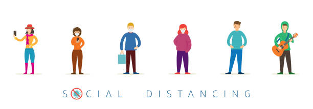 group of people in queue, social distancing concept - social distancing stock illustrations