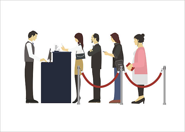 group of people in queue - receptionist stock illustrations, clip art, cartoons, & icons