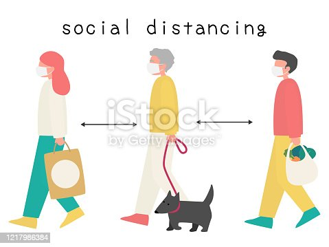 istock Group of People in Social Distancing Concept stock illustration 1217986384