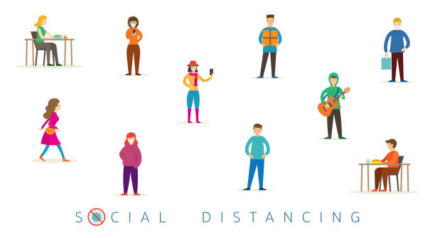 group of people in social distancing concept - social distancing stock illustrations