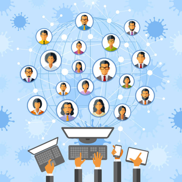 Group of People in Social Distancing Concept vector art illustration
