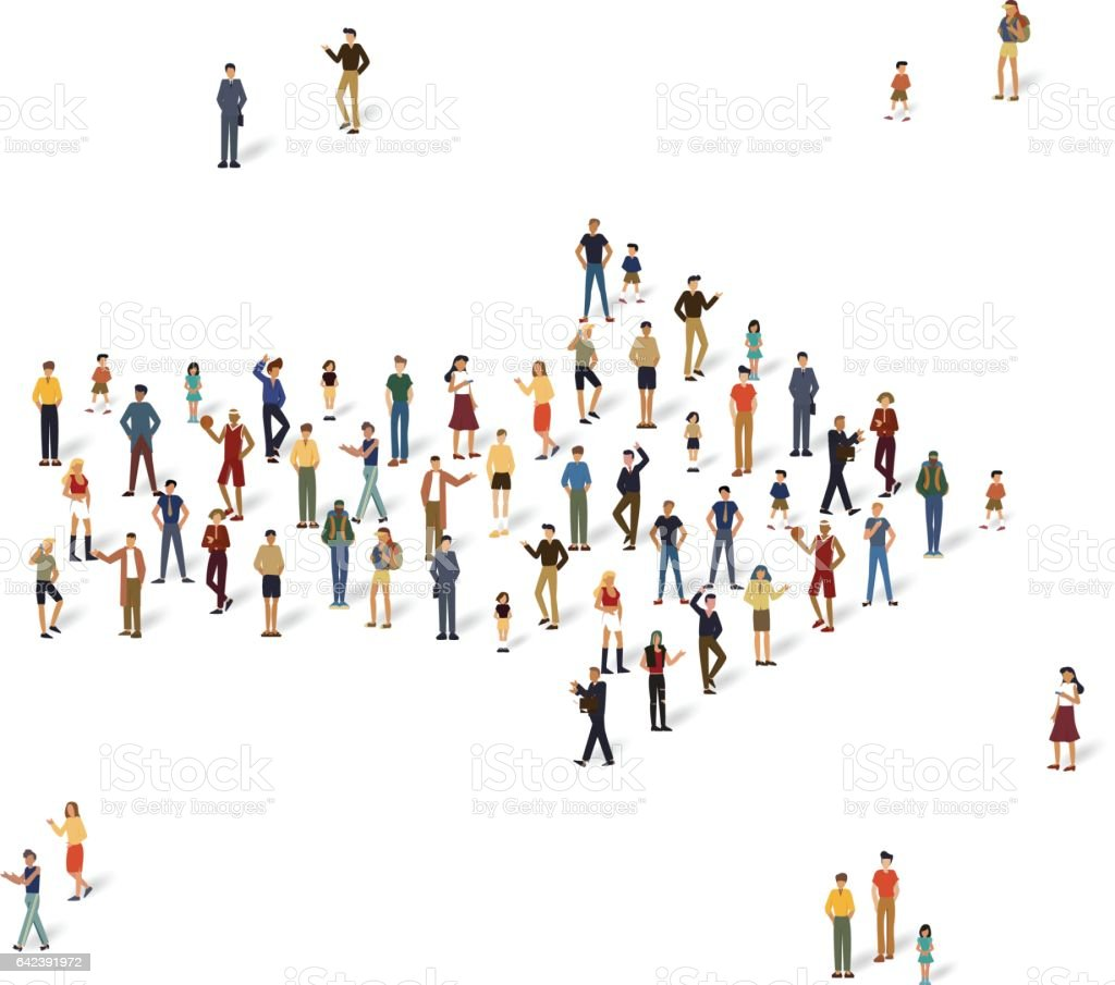 Group of people in the shape of a arrow. vector art illustration