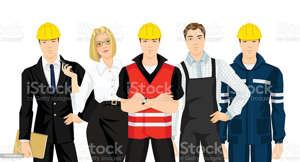 Group of people in uniform. vector art illustration