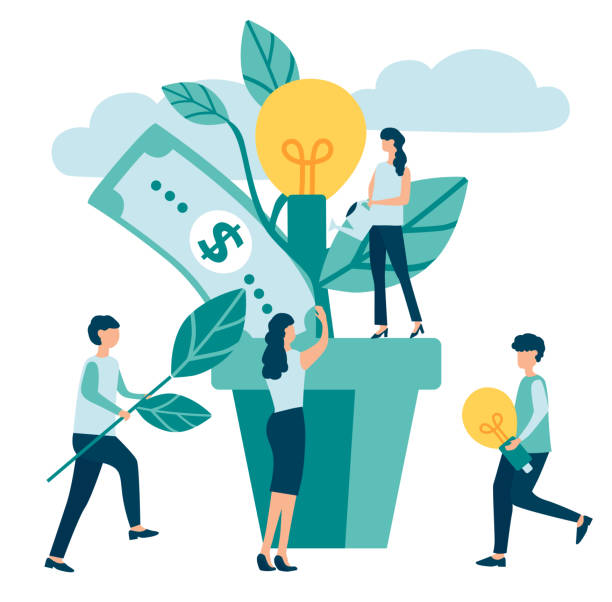 Group of people increase efficiency and income, make money. Group of people characters increase efficiency and income, make money on white background. Business, teamwork, financial success, business, banking. Money tree. Vector illustration, flat style. money tree stock illustrations