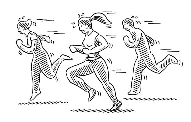 Group Of People Jogging Drawing Hand-drawn vector drawing of a Group Of People Jogging. Black-and-White sketch on a transparent background (.eps-file). Included files are EPS (v10) and Hi-Res JPG. running stock illustrations