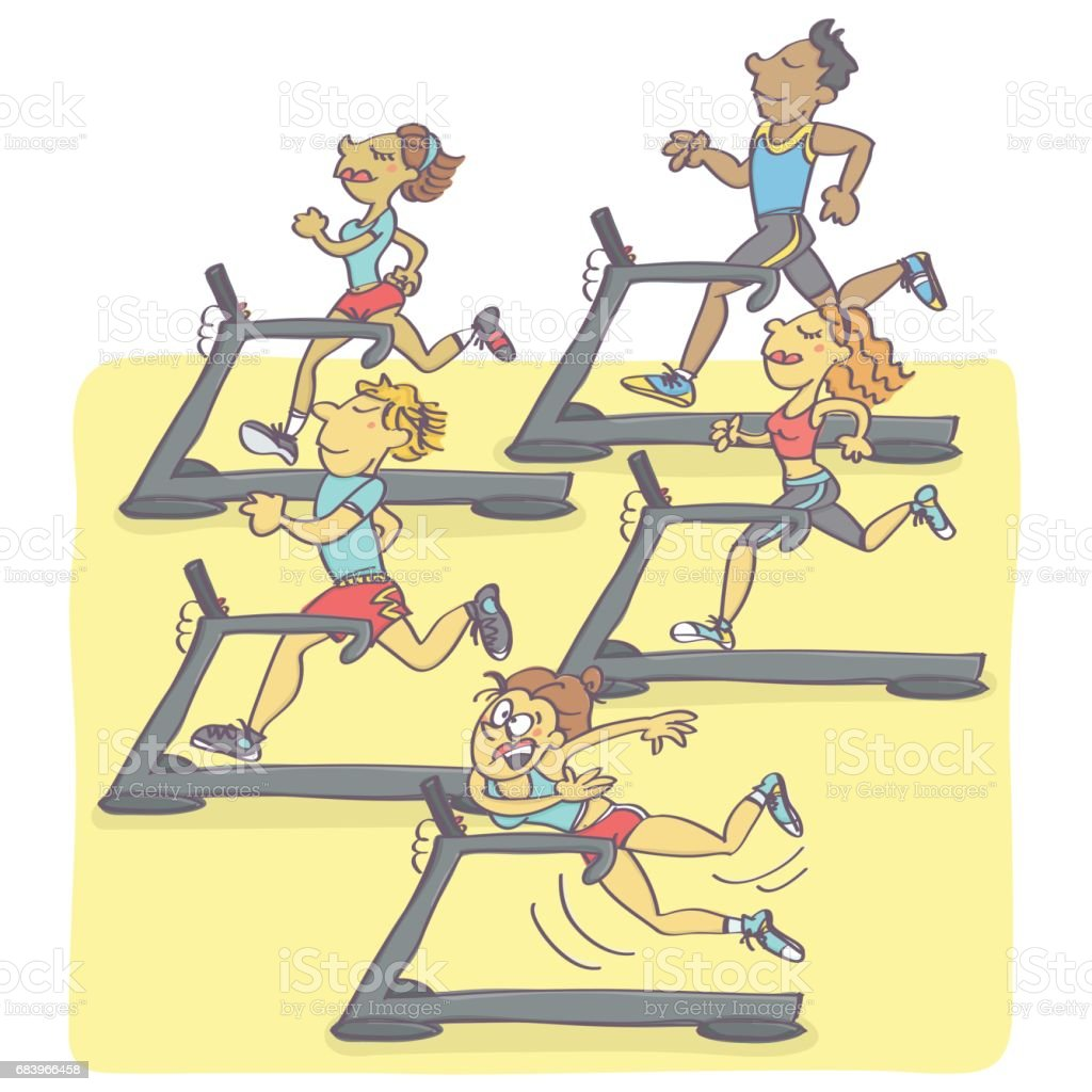 Group of people jogging on running machines vector art illustration