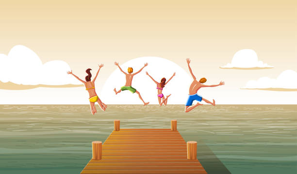ilustrações de stock, clip art, desenhos animados e ícones de group of people jumping from wooden pier into the water. family having fun jumping in the sea water. - jump pool, swimmer