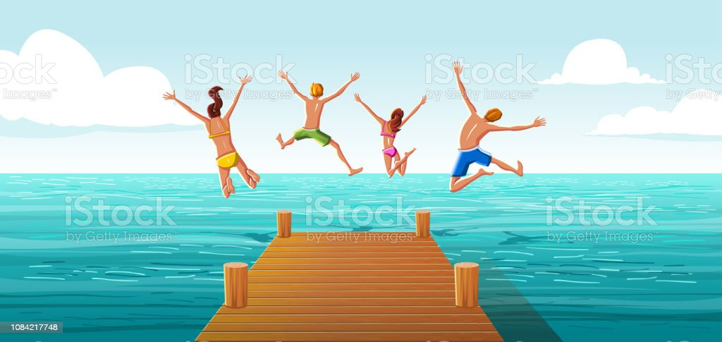 Group of people jumping from wooden pier into the water. Family having fun jumping in the sea water. royalty-free group of people jumping from wooden pier into the water family having fun jumping in the sea water stock illustration - download image now