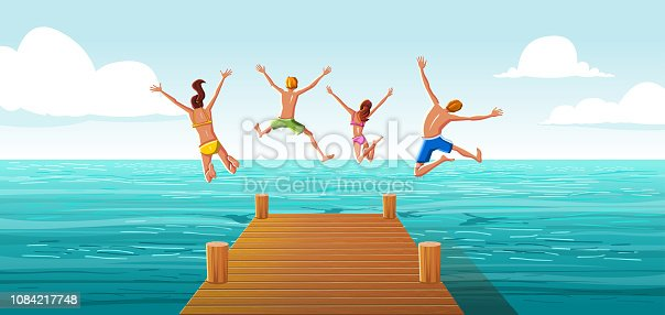 istock Group of people jumping from wooden pier into the water. Family having fun jumping in the sea water. 1084217748