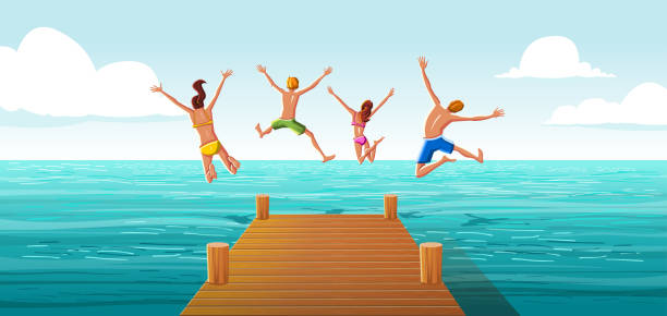group of people jumping from wooden pier into the water. family having fun jumping in the sea water. - family trips stock illustrations