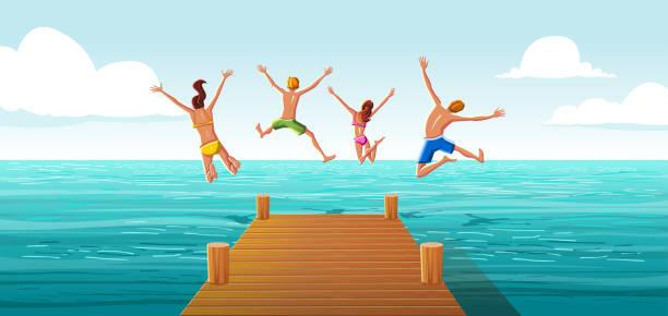 illustrations, cliparts, dessins animés et icônes de groupe de personnes sautant de la jetée en bois dans l'eau. famille s'amuser sautant dans l'eau de mer. - vacances en famille