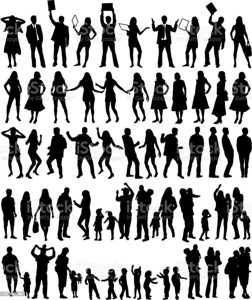 Group of people -large collection vector art illustration